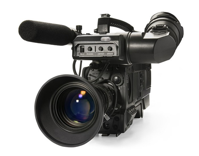Professional digital video camera, isolat